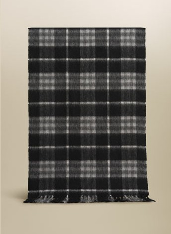 Burberry Check Cashmere Scarf_Black Grey_BUC02