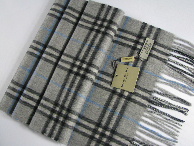 Burberry Check Cashmere Scarf_Grey_BUC07