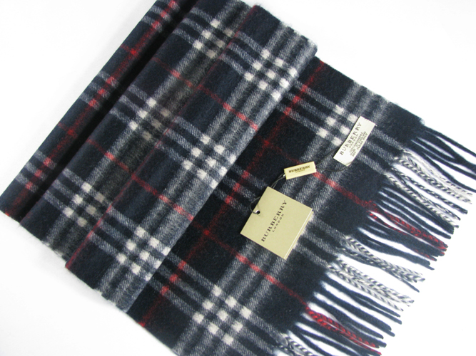 Burberry Check Cashmere Scarf_Navy_BUC08