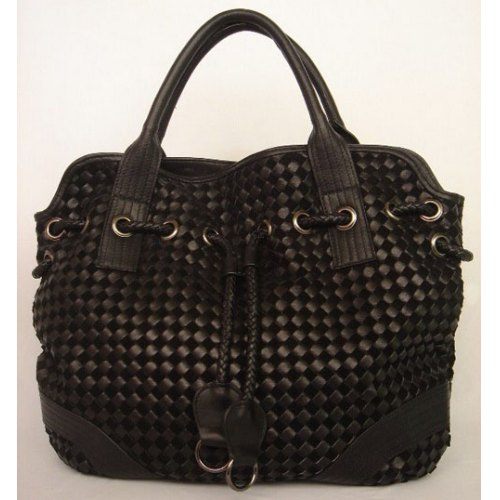 Bottega Veneta Drawstring Woven Bag_Black Leather_78917