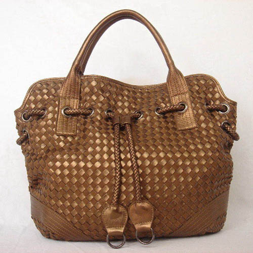 Bottega Veneta Drawstring Woven Bag_Bronze Leather_78917