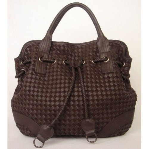 Bottega Veneta Drawstring Woven Bag_Coffee Leather_78917
