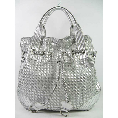 Bottega Veneta Drawstring Woven Bag_Silver Leather_78917