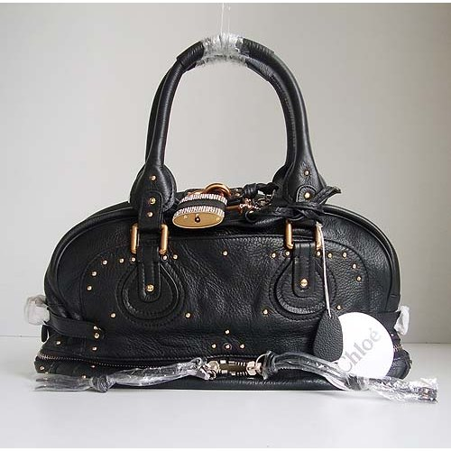Chloe Paddington Bag_Sparkle Lock_Black Leather_8366