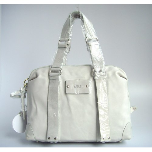 Chloe Patsy Tote_Grey White Leather_8513