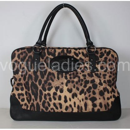 D & G New Bag in Leopard Fabric and Black Leather 29174