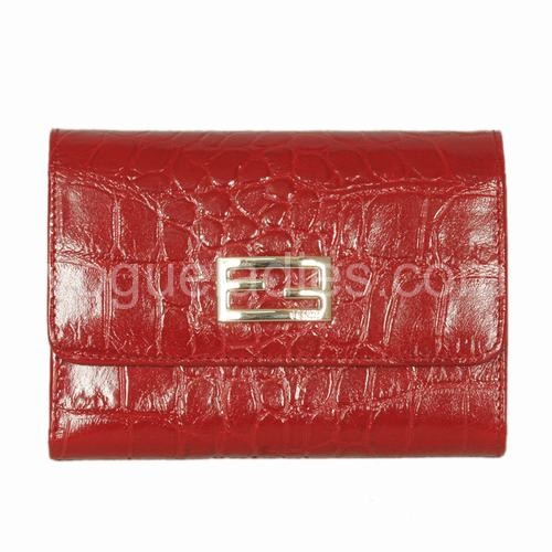 Fendi Red Croc Leather Wallet 120311