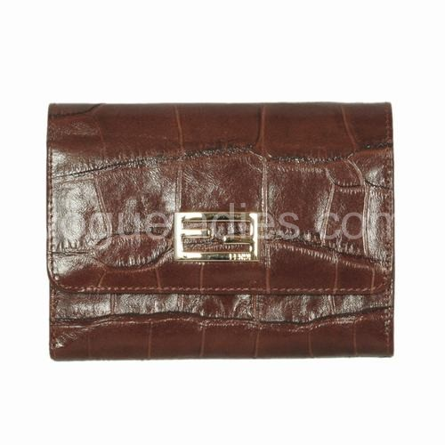 Fendi Coffee Croc Leather Wallet 120311
