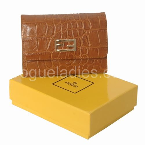 Fendi Earth Yellow Croc Leather Wallet 120311