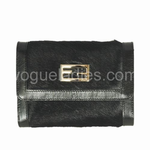 Fendi Black Horse Hair Wallet 120311