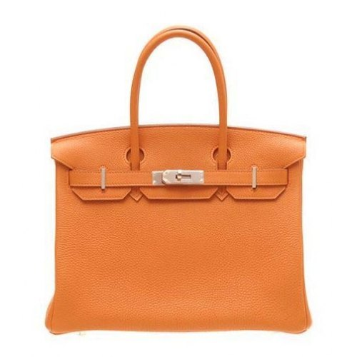Hermes Birkin 30cm_Orange Togo Leather_Silver Metal