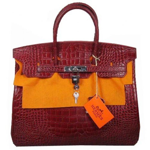 Hermes Birkin 30cm_Red Croc Leather_Silver Metal