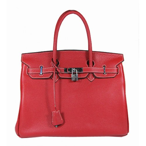 Hermes Birkin 35cm_Red Togo Leather_Silver Metal