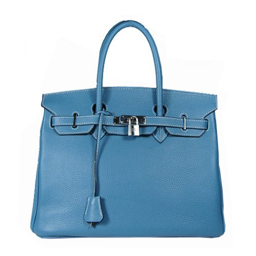 Hermes Birkin 35cm_Blue Togo Leather_Silver Metal