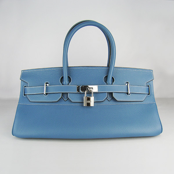 Hermes Birkin 42cm Blue Togo Leather_Silver Metal