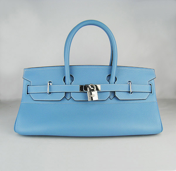 Hermes Birkin 42cm Light Blue Togo Leather_Silver Metal