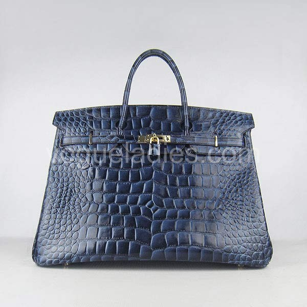 Hermes Birkin 40cm_Dark Blue Croc Leather_Golden Metal