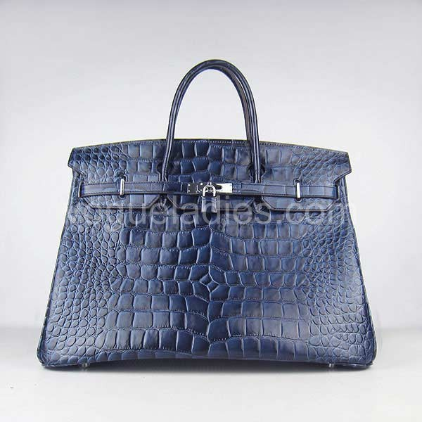 Hermes Birkin 40cm_Dark Blue Croc Leather_Silver Metal
