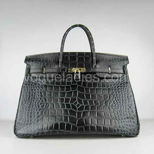 Hermes Birkin 40cm Black Croc Leather Golden Metal
