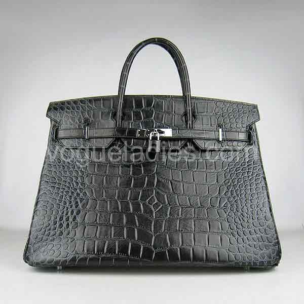 Hermes Birkin 40cm Black Croc Leather Silver Metal