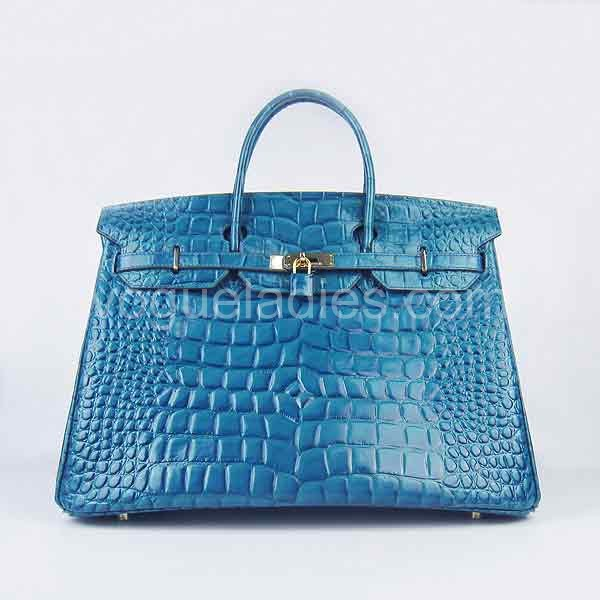 Hermes Birkin 40cm Middle Blue Croc Leather Golden Metal