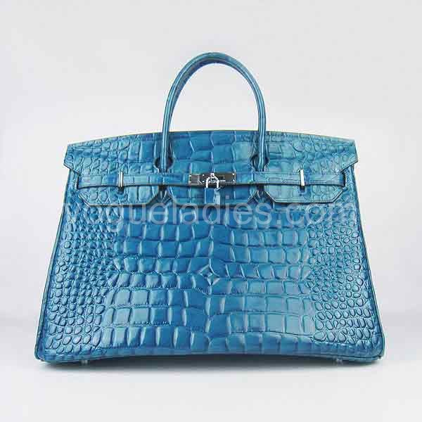Hermes Birkin 40cm Middle Blue Croc Leather Silver Metal