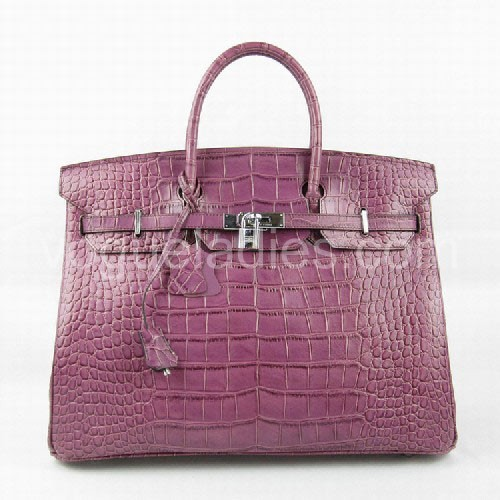 Hermes Birkin 40cm_Purple Croc Leather_Silver Metal