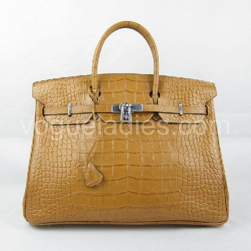 Hermes Birkin 40cm_Earth Yellow Croc Leather_Silver Metal