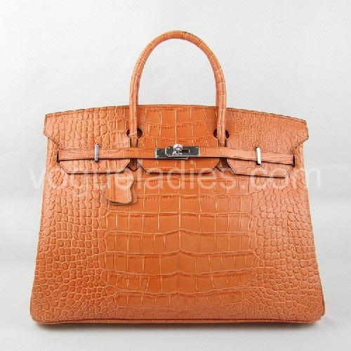 Hermes Birkin 40cm_Orange Croc Leather_Silver Metal