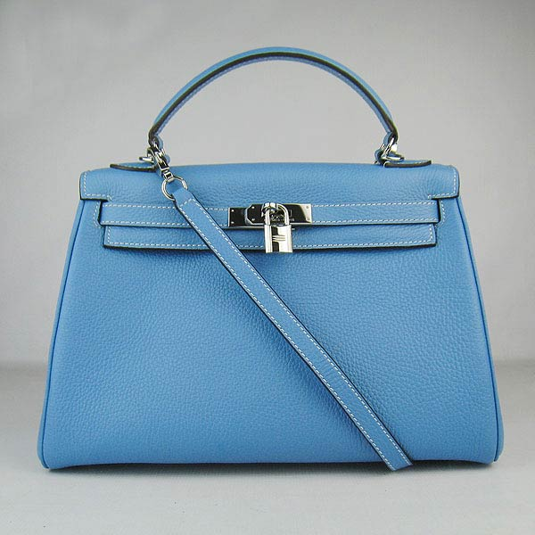 Hermes Kelly 32cm_Light Blue Togo Leather_Silver Metal