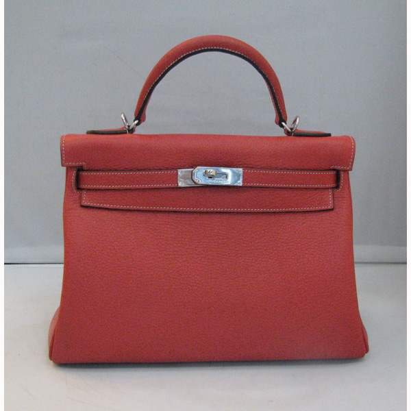 Hermes Kelly 32cm_Red Togo Leather_Silver Metal