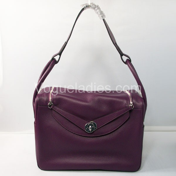 Hermes Lindy Bag in Purple Togo Leather