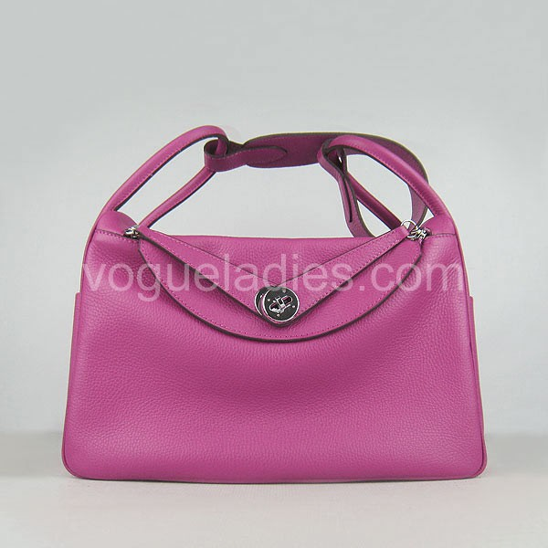 Hermes Lindy Bag Peach Red Togo Leather Silver Metal