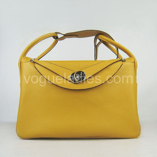 Hermes Lindy Bag Yellow Togo Leather Silver Metal