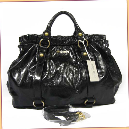 Miu Miu Gathered Leather Bag_Black_88035