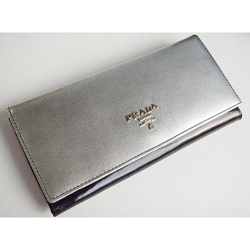 Prada Wallet_Silver & Black Leather_6605