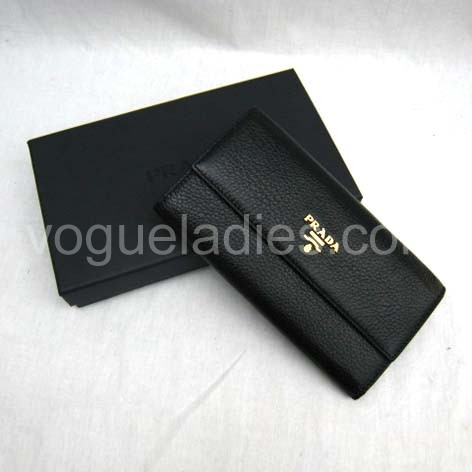 Prada Wallet_Black Leather_1M0206