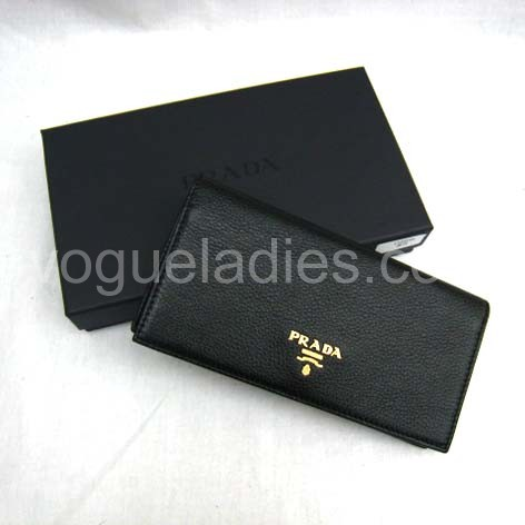 Prada Wallet_Black Leather_1M0208