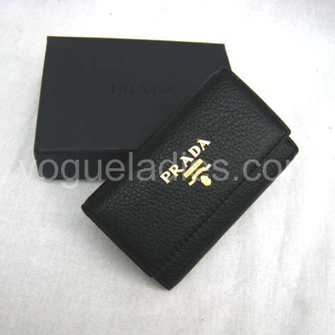 Prada Wallet_Black Leather_1M0222