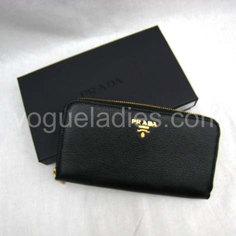 Prada Wallet_Black Leather_1M0506
