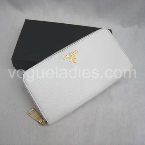 Prada Wallet_White Leather_1M0506