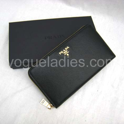 Prada Wallet_Black Leather_1M0508
