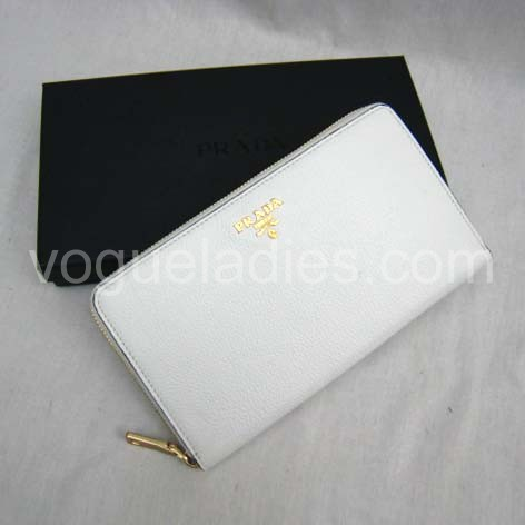 Prada Wallet_White Leather_1M0508