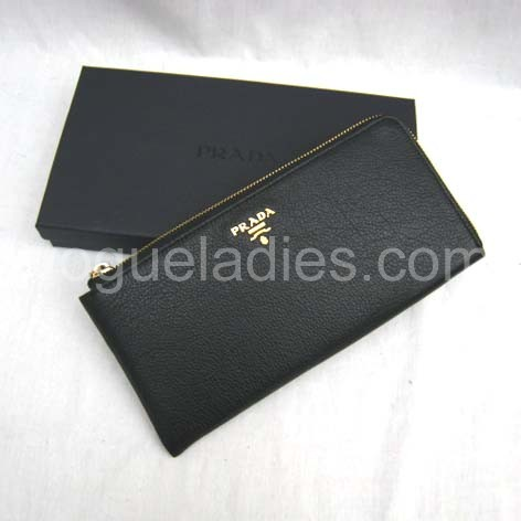 Prada Wallet_Black Leather_1M0509