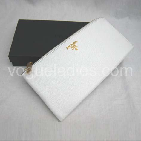 Prada Wallet_White Leather_1M0509