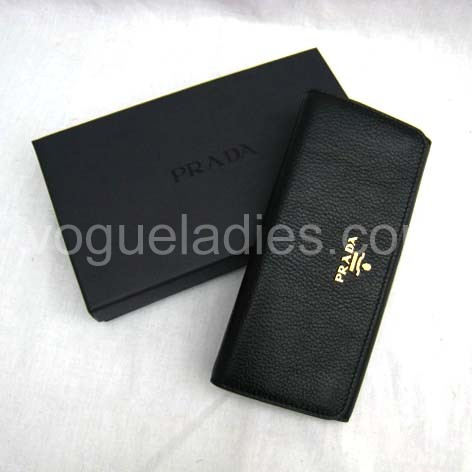 Prada Wallet_Black Leather_1M1132
